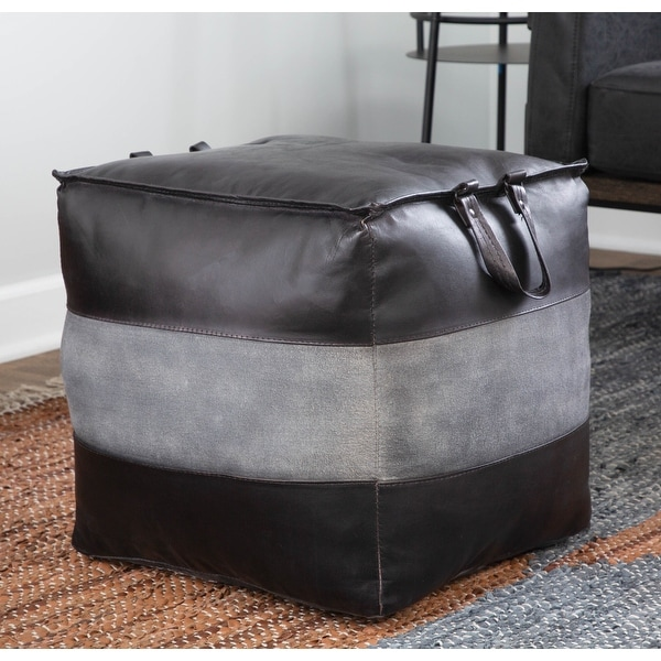 Carbon Loft Najah Industrial Pouf Ottoman in Leather and Canvas. Opens flyout.