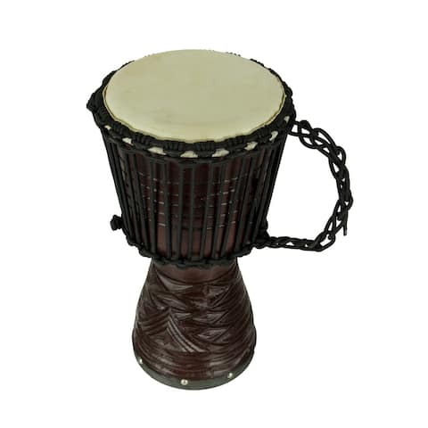 Hand Carved Wood Djembe Hand Drum 16 Inch Tall