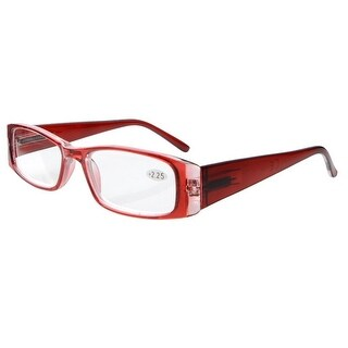 Eyekepper Spring Hinges Rectangular Reading Glasses Readers Red +2.5