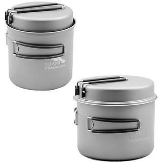 TOAKS Titanium Camping Cook Pot with Pan and Foldable Heat-Resistant Handles