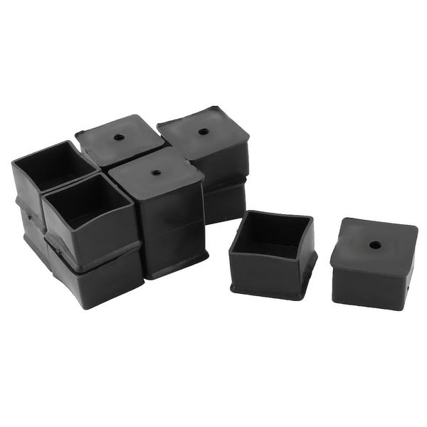 Furniture Rubber Square Shaped Table Chair Leg Foot Cover Protector Black 12pcs
