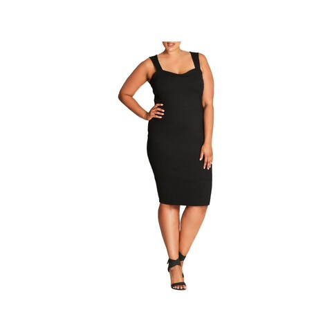 City Chic Womens Bodycon Dress Sleeveless Knee-Length