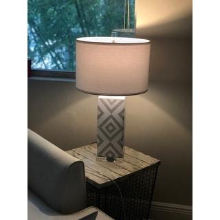 Safavieh Lighting 27-inch Grey Diamonds Table Lamp (Set of 2)