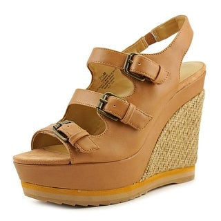 Nine West Wixsono Women Open Toe Synthetic Tan Wedge Sandal