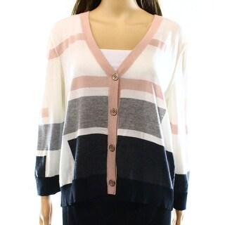 St. John NEW White Ivory Women's Size Large L Cardigan Wool Sweater