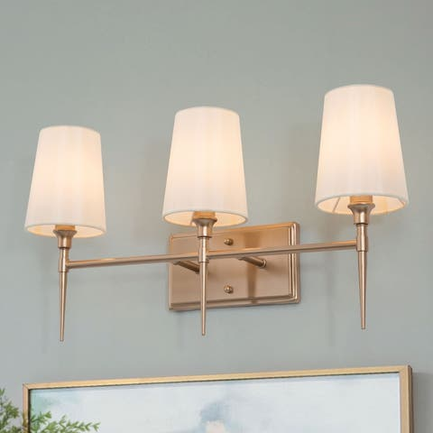 """3-Light Modern Gold Bathroom Vanity Light with Fabric Shade Wall Sconces for Powder Room - L23""""xW6.5""""xH12"""""""