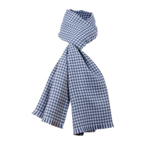 Ermenegildo Zegna Dark Blue Check Plaid Pure Wool Fringe Scarf - 22.5-78