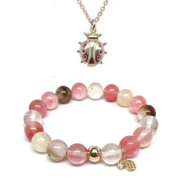 Pink Cherry Quartz Bracelet & CZ Ladybug Gold Charm Necklace Set