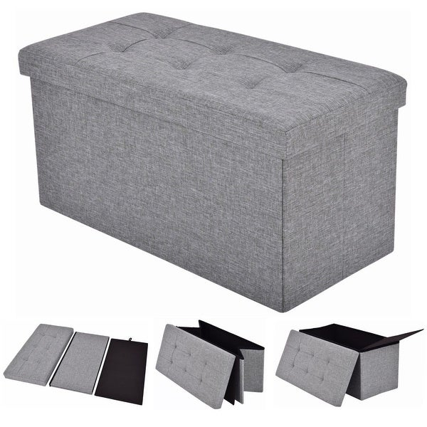 Shop Costway Folding Rect Ottoman Bench Storage Stool Box