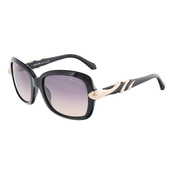 Roberto Cavalli RC879S/S 01B LESATH Shiny Black Rectangle sunglasses - Shiny Black - 56-19-135
