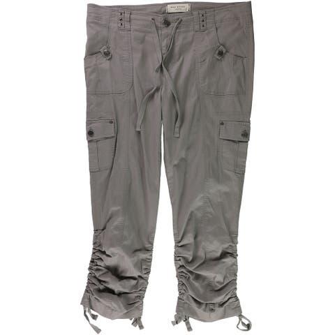 Max Studio London Womens Drawstring Casual Cargo Pants, grey, 36