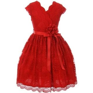 Flower Girl Dress Curly V-Neck Rose Embroidery AllOver Red JKS 2066 (Option: 4)