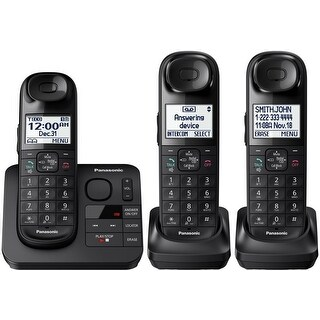 Panasonic Expandable Cordless 3 Phone Answering System w/ Comfort Shoulder Grip