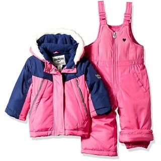 OshKosh Girls 12-24 Months Faux Fur Color-blocked Snowsuit - FUCHSIA - 12 months