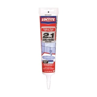 Loctite 1935990 2 in 1 Seal & Bond Tub & Tile Caulk, 5.5 Oz, White