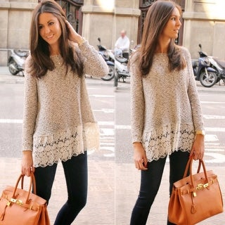 Casual Loose Lace Stitching Long Sleeve T Shirt Sweater