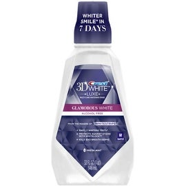 Crest 3D White Luxe Glamorous White Multi-Care Whitening Mouthwash, Fresh Mint 32 oz
