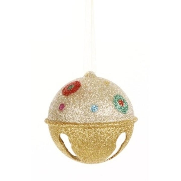 """Candy Fantasy Gold Glitter Bell with Polka Dots Christmas Ornament 3.25"""""""