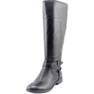 Marc Fisher Womens ALEXIS Leather Closed Toe Mid-Calf Riding Boots