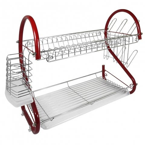 Better Chef DR-165R, 16-Inch, 2-Tier, Chrome Plated Dishrack in Red