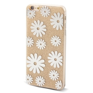Cell Phone Flower Pattern Design Glitter Case Cover Gold Tone for iphone 6 Plus