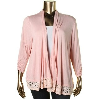 NY Collection Womens Plus Open Front Lace-Trim Cardigan Top - 3X
