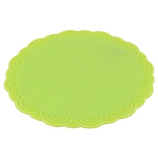 Home Silicone Flower Shaped Heat Resistant Pot Pad Bowl Cup Mat Green 10.3cm Dia