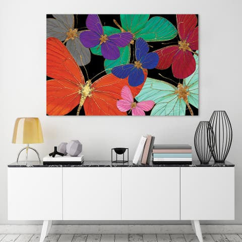 """""""Colorful Butterflies World"""" Frameless Free Floating Tempered Glass Panel Graphic Wall Art Print 32 in. x 48 in."""