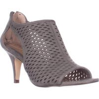 SC35 Haddiee Perforated Caged Peep Toe Heels, Dark Graphite