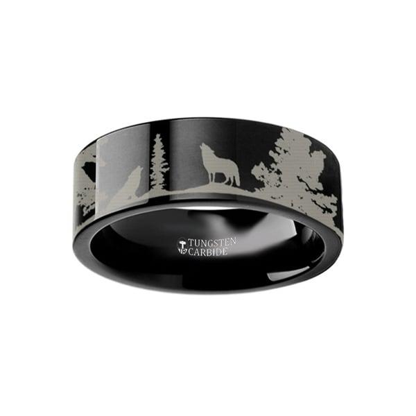 THORSTEN - Animal Landscape Scene Wolf Wolves Ring Engraved Flat Black Tungsten Ring - 10mm