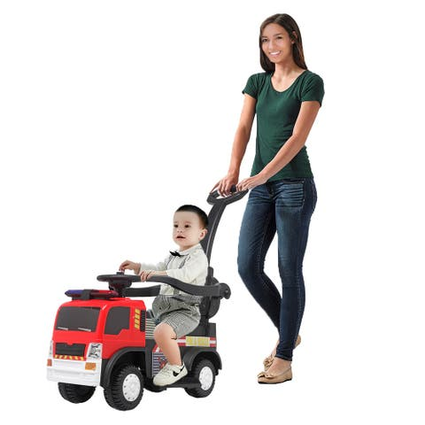 Kids Ride On Rescue Fire Truck with Music Function & Push Handle