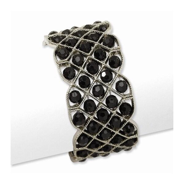 Silvertone Black Acrylic Beads Stretch Bracelet