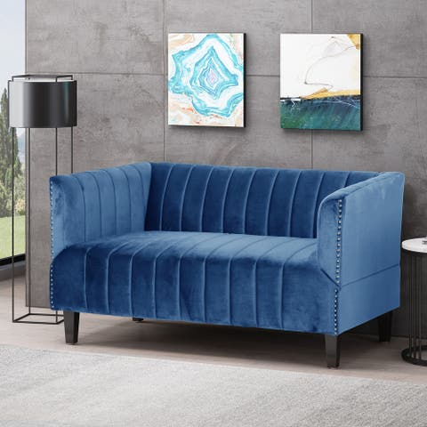Weymouth Contemporary Channel Stitch Velvet Settee by Christopher Knight Home