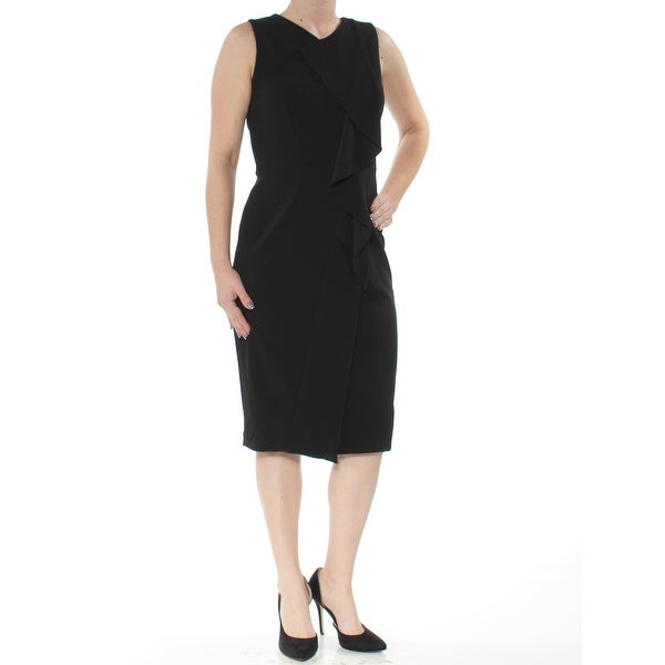 044e3967f550 Shop CALVIN KLEIN Womens Black Ruffled Scuba Crepe Sleeveless Below The  Knee Cocktail Dress Size: 4 - On Sale - Free Shipping On Orders Over $45 -  Overstock ...