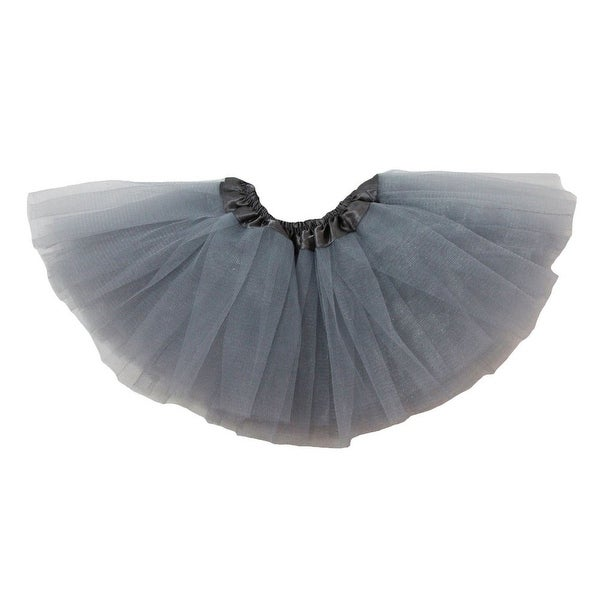 Baby Girls Gray Satin Elastic Waist Ballet Tutu Skirt 0-12M