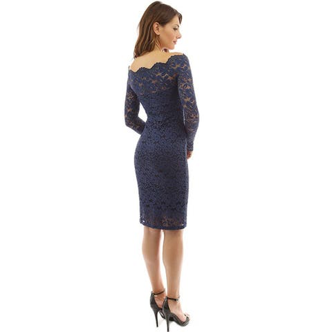 Women's One-Neck Long-Sleeved Bag Hip Lace Dress