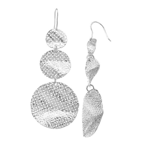 Italian-Inspired Textured Free-Form Drop Earrings in Rhodium-Plated Sterling Silver
