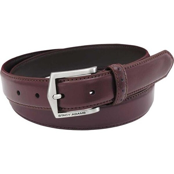Stacy Adams Men/'s 30 MM Pinseal Leather Belt with Brushed Nickel Buckle