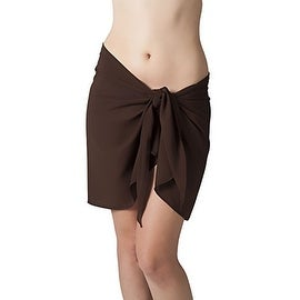 Short Brown Swimsuit Sarong Cover Up with Built in Ties One Size