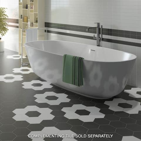 "SomerTile Hexatile Matte Nero 7"" x 8"" Porcelain Floor and Wall Tile"