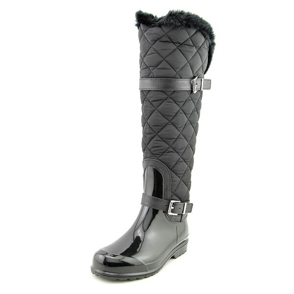 Michael Michael Kors Fulton Quilted Rainboot Women Canvas Black Rain Boot