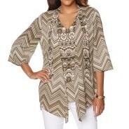 Jill Lange Brown Womens Size Medium M Georgette Print Cardigan Sweater