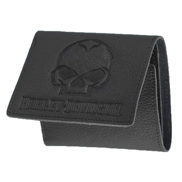 "Harley-Davidson Mens Emboss Willie G Skull Leather Tri-Fold Wallet XML4752-BLACK - 4"" x 3.5"""