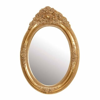 Antique Vanity Mirror Gold Oval Wood Frame