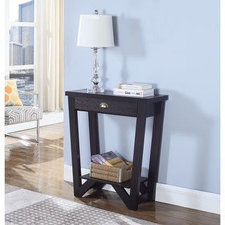 Transitional Style Angled Wooden Console Table, Brown
