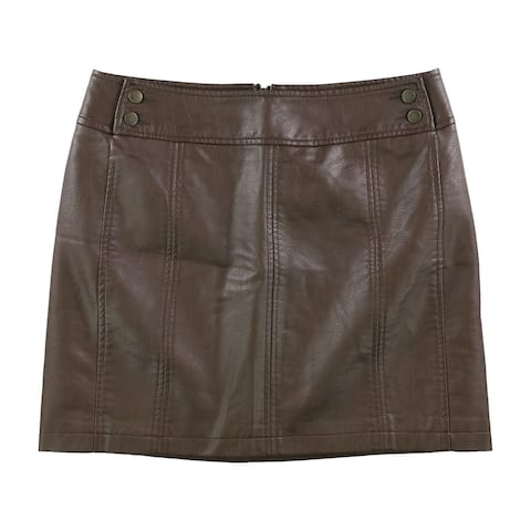 Free People Womens Faux Leather Mini Skirt