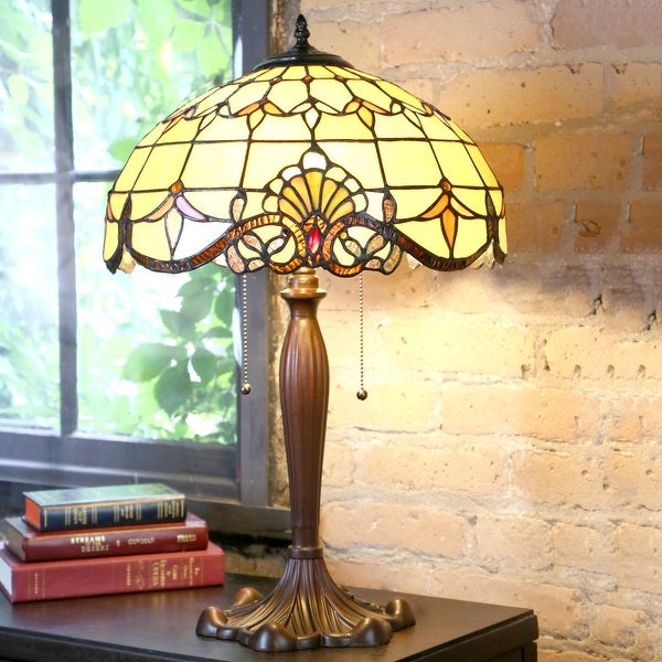 """Copper Grove Mosa 24-inch Stained Glass Amber Table Lamp - 16""""L x 16""""W x 24.75""""H - 16""""L x 16""""W x 24.75""""H. Opens flyout."""