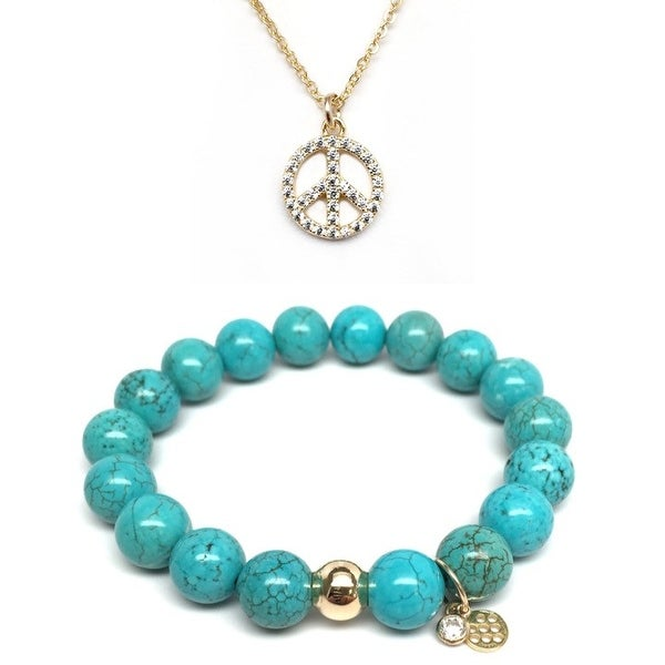 Turquoise Magnesite Bracelet & CZ Peace Sign Gold Charm Necklace Set