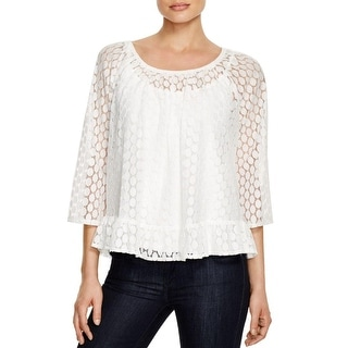 Status by Chenault Womens Blouse Lace Ruffled