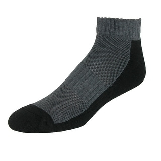 CTM® Men's Cotton Sport Mesh Ankle Socks (Pack of 3) - grey with black - One Size